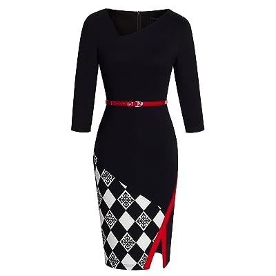 HOMEYEE Women's Elegant Patchwork Sheath Sleeveless Business Dress B290 at Women's Clothing store