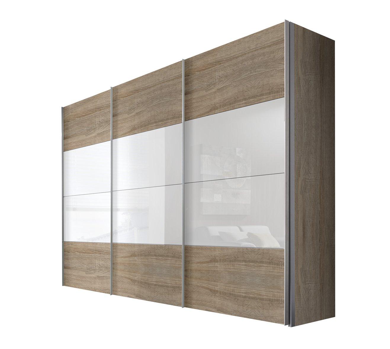 Solutions 49620-761 Schwebetürenschrank 3-türig, Korpus und Front Sonoma-eiche, weißglas, Griffleisten alufarben, 68 x 300 x 216 cm