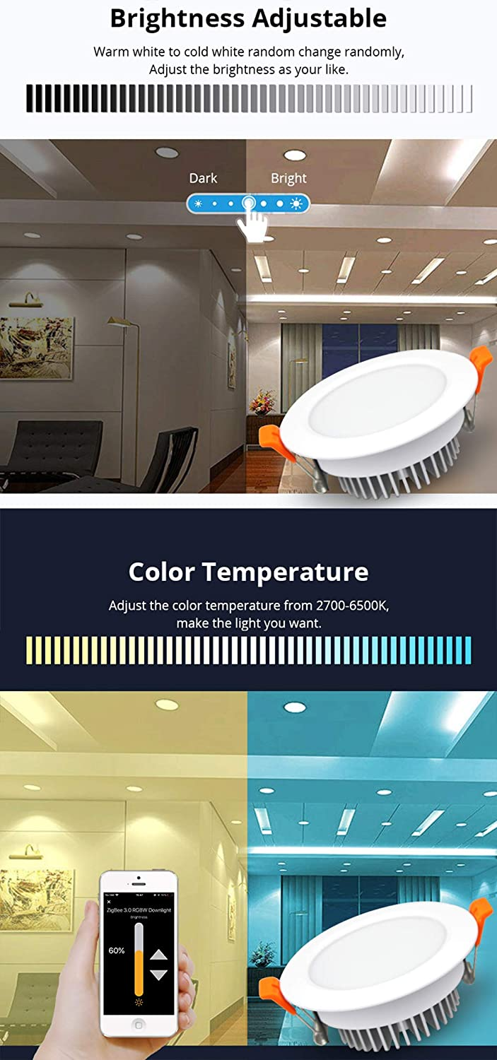 ZigBee 3.0 Smart RGBW 3.5 inch Recessed Retrofit Downlight 12W 10cm LED Dimmable Fixture Ceiling Light Multi-Color Compatible with  Alexa Echo Plus SmartThings Home Automation