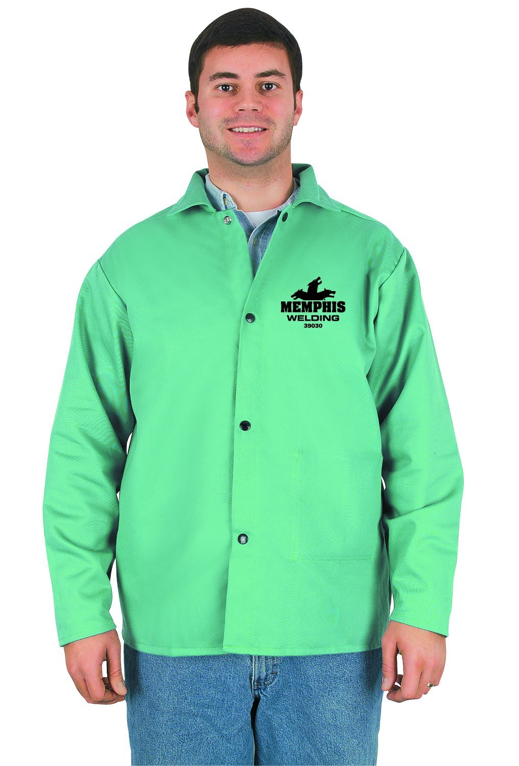 MCR Safety 39030X4 30-Inch Flame Resistant Cotton Fabric Welding Jacket with Inside Pocket, Green, 4X-Large by MCR Safety (Image #1)