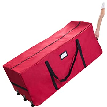 Christmas Tree Storage Bag, Justdolife Xmas Tree Bag Heavy Duty Canvas Christmas  Tree Storage Bag for 9 Foot Artificial Tree Furniture Holiday Red Extra ... - Christmas Tree Storage Bag, Justdolife Xmas Tree Bag Heavy Duty