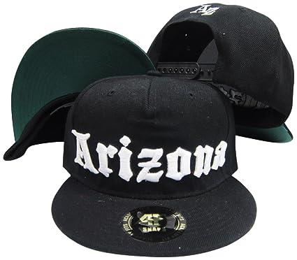 cee17eb675b8f Arizona Old English Black Adjustable Snapback Hat   Cap at Amazon ...