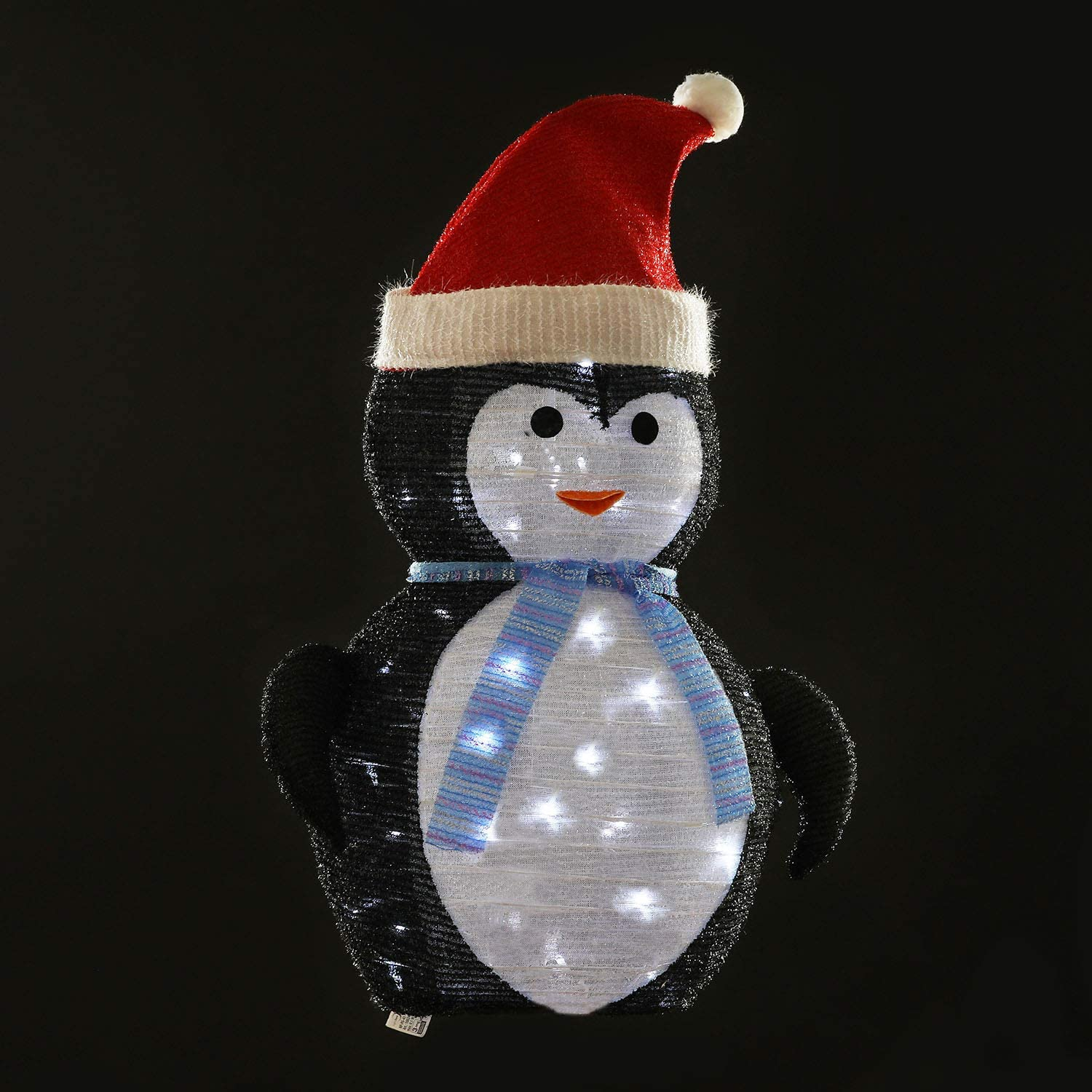 KPROE Portable Pre Lit LED Lighted Battery Operated Penguin Christmas Lawn Decoration Indoor Outdoor Holiday 27 5 Inches