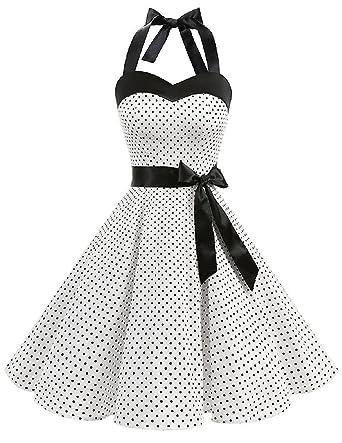 Mythgiftuk Damen Vintage 1950er Jahre Rockabilly Polka Dots Kleid ...