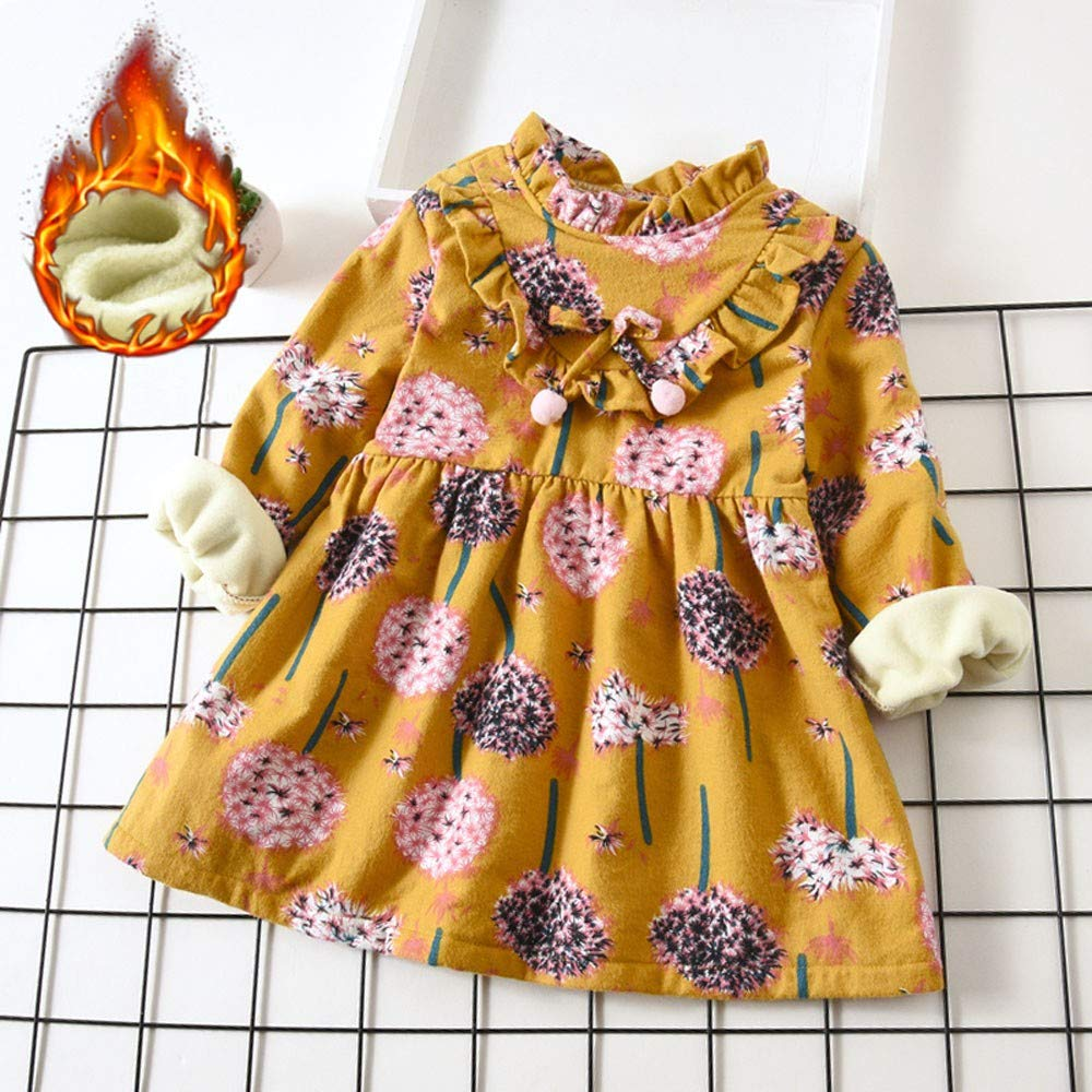 HOT 0-5 Years Old New Toddler Baby Girls Long Sleeve Floral Flower Print Dress Outfits Clothes HOT