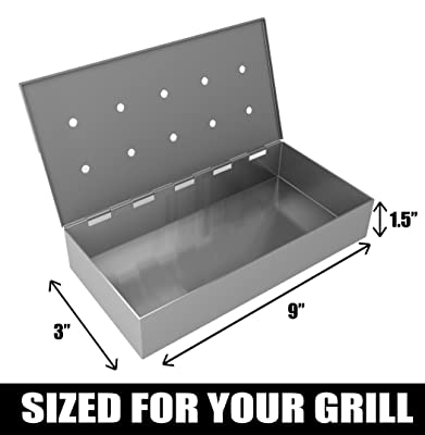 Cave Tools Smoker Box for BBQ Grill Wood Chips - 25% Thicker Stainless Steel Won't WARP - Charcoal & Gas Barbecue Meat Smoking with Hinged Lid