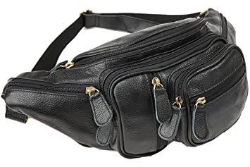 Image Unavailable. Image not available for. Color  Polare Natural Leather  Fanny Pack Waist Bag Black Large 4985cd6007dc4
