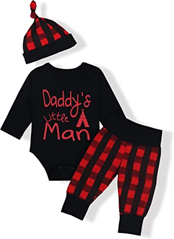 Newborn Baby Boy Girl Outfits Plaid Print Long Sleeve Hoodie Top Pants Clothes Set 0-3 Y