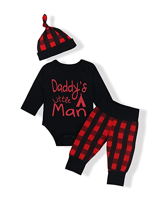 Baby Boys Girls Clothes Daddy s Little Man Print Bodysuit Outfits Clothes  Set with Hat(0 5bbcbd840fb