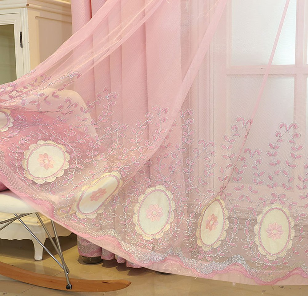 Aside Bside Floral Mirror Vines Rod Pocket Top Nature Style Sheer Curtains Permeable Window Decoration For Houseroom Child Room and Sitting Room (1 Panel, W 52 x L 63 inch, Pink)