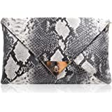 Aisa® Women Snakeskin Pattern Handbag Envelope Clutch Bag with Metal Chain Strap Retro Purse Shoulder Bag