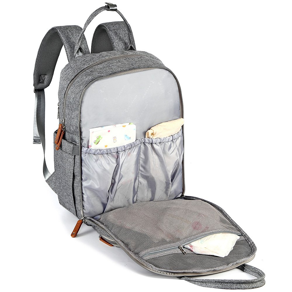 Grey Baby Diaper Bag Nappy Back Pack with Changing Mat for Mom and Dad Changing Bag Backpack