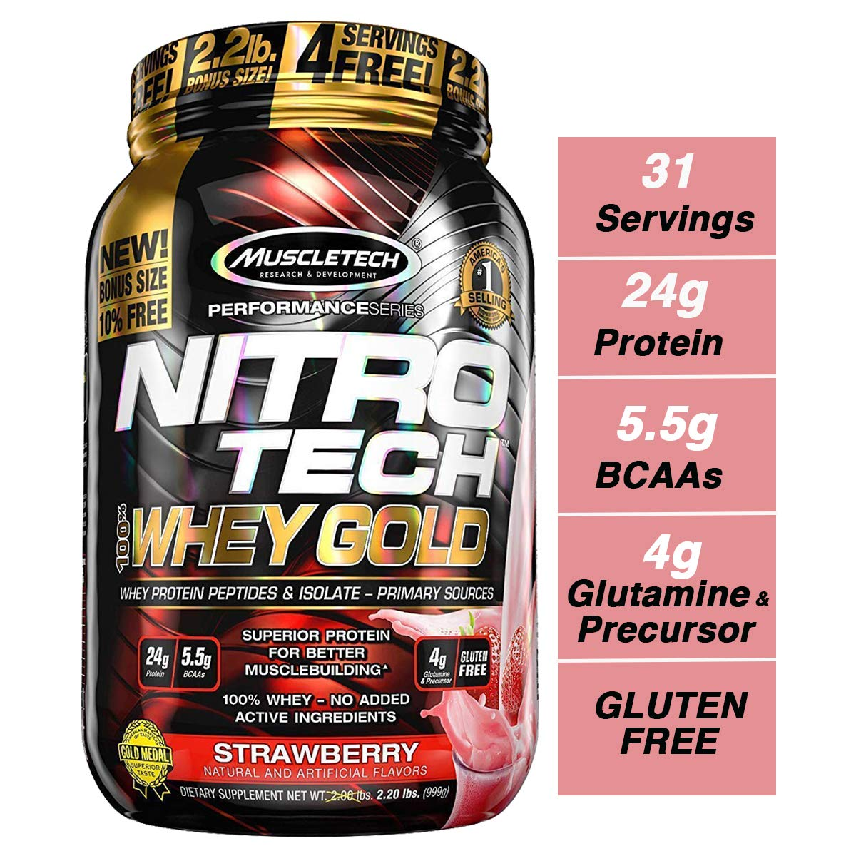 MuscleTech NitroTech Whey Gold, 100% Whey Protein Powder, Whey Isolate and Whey Peptides, Strawberry, 35.2 Ounce by MuscleTech