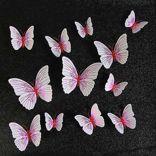 WLZSH Pegatina 12Pcs 3D Mariposa Etiqueta De La Pared Decoración ...