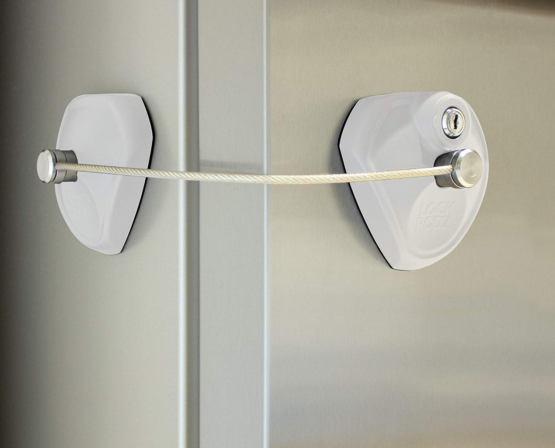 LOCK PODZ Refrigerator Lock, Freezer Lock, Cabinet Lock, Child Safety Lock, Mini Fridge Lock, Fridge Lock with Keys, Fridge Lock for Adults, Lock for Dorm Fridge, Color White