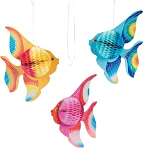 Fun Express - Tissue Fish (12pc) for Party - Party Decor - Hanging Decor - Tissue - Party - 12 Pieces (12-Pack)