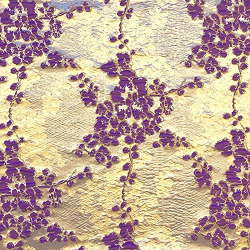 Angelonia Floral Jacquard Fabric Metallic 3D 57