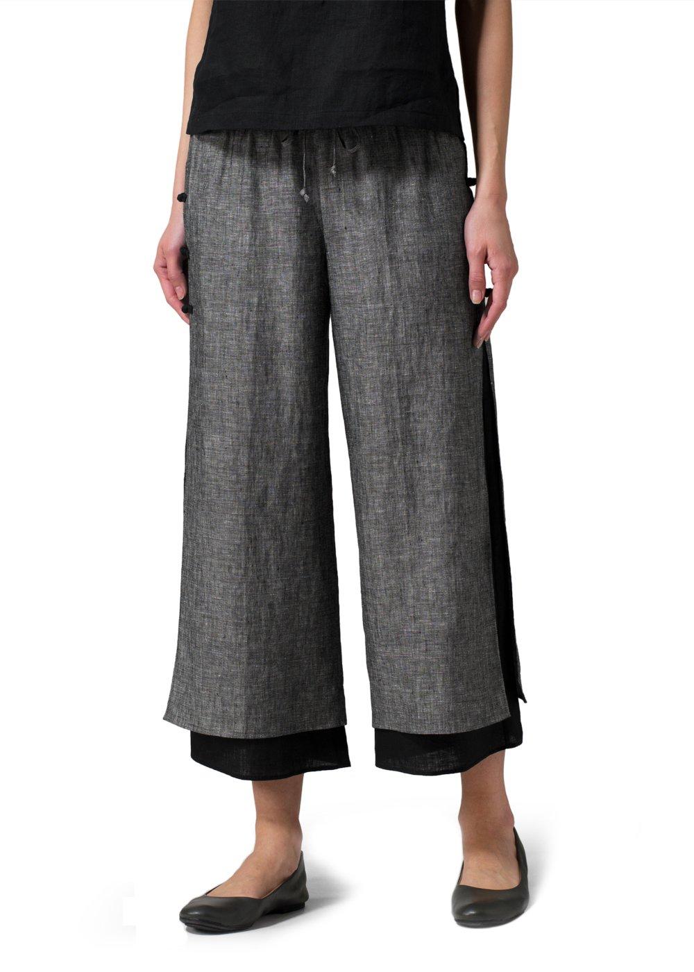 Vivid Linen Double-Layer Cropped Pants-2X-Two Tone Black/Black