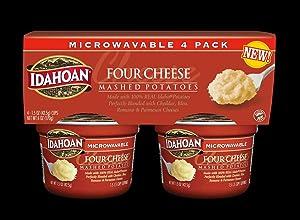 Idahoan Four Cheese Mashed Potatoes - Gluten-Free, Real Idaho Potatoes - 4 Cups (1.5-Ounces Each) (2 Pack)