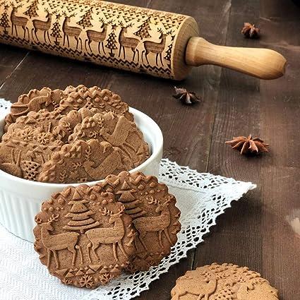 ILOVE DIY Rouleau à Pâtisserie en Bois Noel Motif Rouleau à Biscuits Gravé  Print Relief (Wapiti, 35cm)
