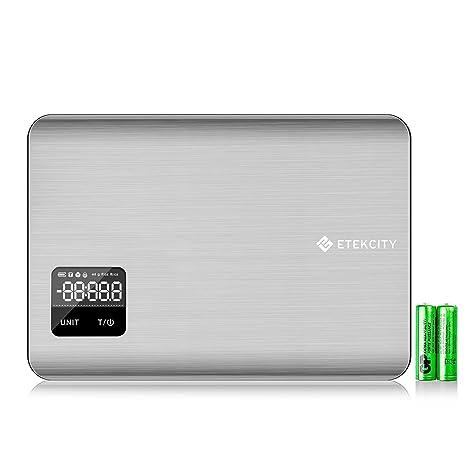 ETEKCITY EK7017 Báscula Digital para Cocina con Pantalla Táctil, Balanza de Alimentos Multifuncional, 5
