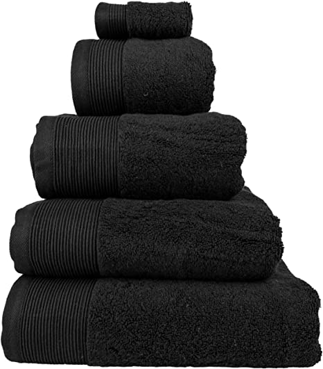 Homescapes – Toalla Supremo Luxe Suave y Absorbente de Algodón Egipcio Negro 700 gr/m², Algodón Egipcio, Negro, Serviette de Bain 70 x 130 cm: Amazon.es: Hogar