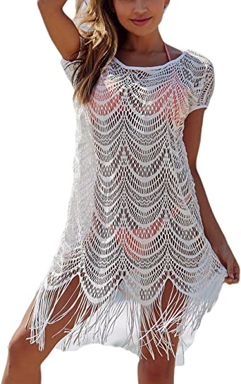 Ailunsnika White V Neck Short Sleeve Bikini Cover Up Dress Beach Tassel Hollow Out Swimwear Cover Ups For Women At Amazon Women S Clothing Store