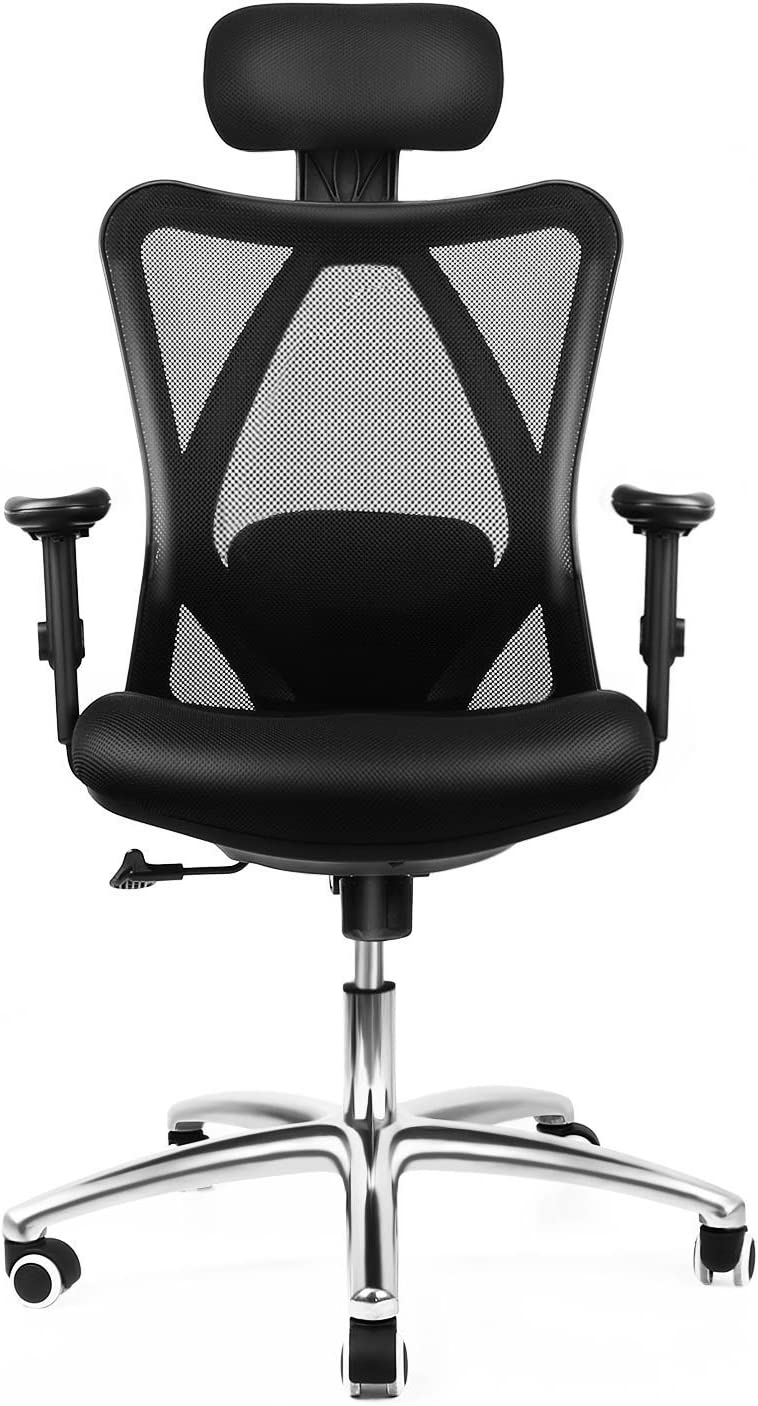 Amazon Com Office Chair Intey Computer Chair With Lumbar Back Support 360 Degree Swivel Adjustable Ergonomic Computer Desk Chair Tall Black Home Office Furniture Chairs Furniture Decor