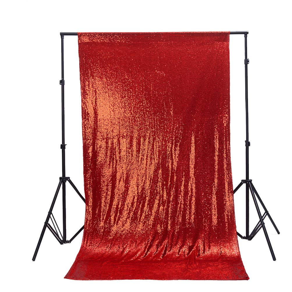 TRLYC 6Ft6Ft High Quailty Red Sequin Photo Backdrop Glitter Ceremony Background for Wedding