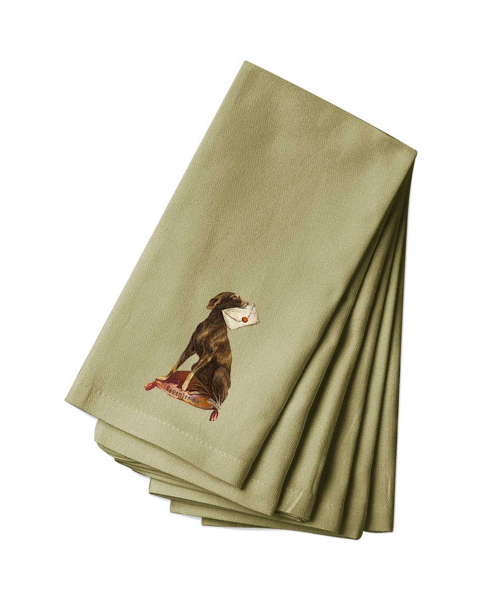 Style in Print Canvas Napkin Set Of 4 Dog Holds Letter In Mouthpets Animals By