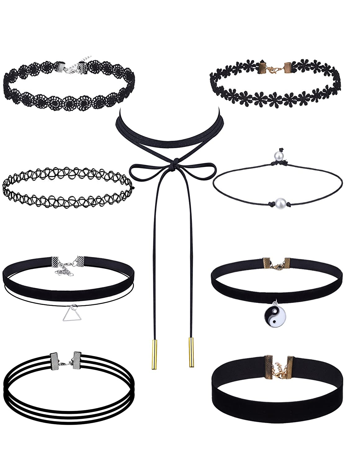 eBoot Black Choker Necklaces Set Velvet Tattoo Lace Choker Set for Women and Girls, 9 Pieces EBOOT-CHOKER-CHAINS-03