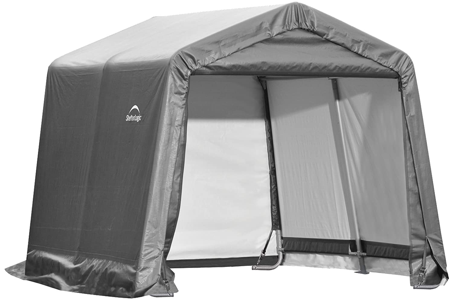 ShelterLogic Shed-in-a-Box with Auger Anchors, Peak, Gray ShelterLogic Corp 70401-Parent