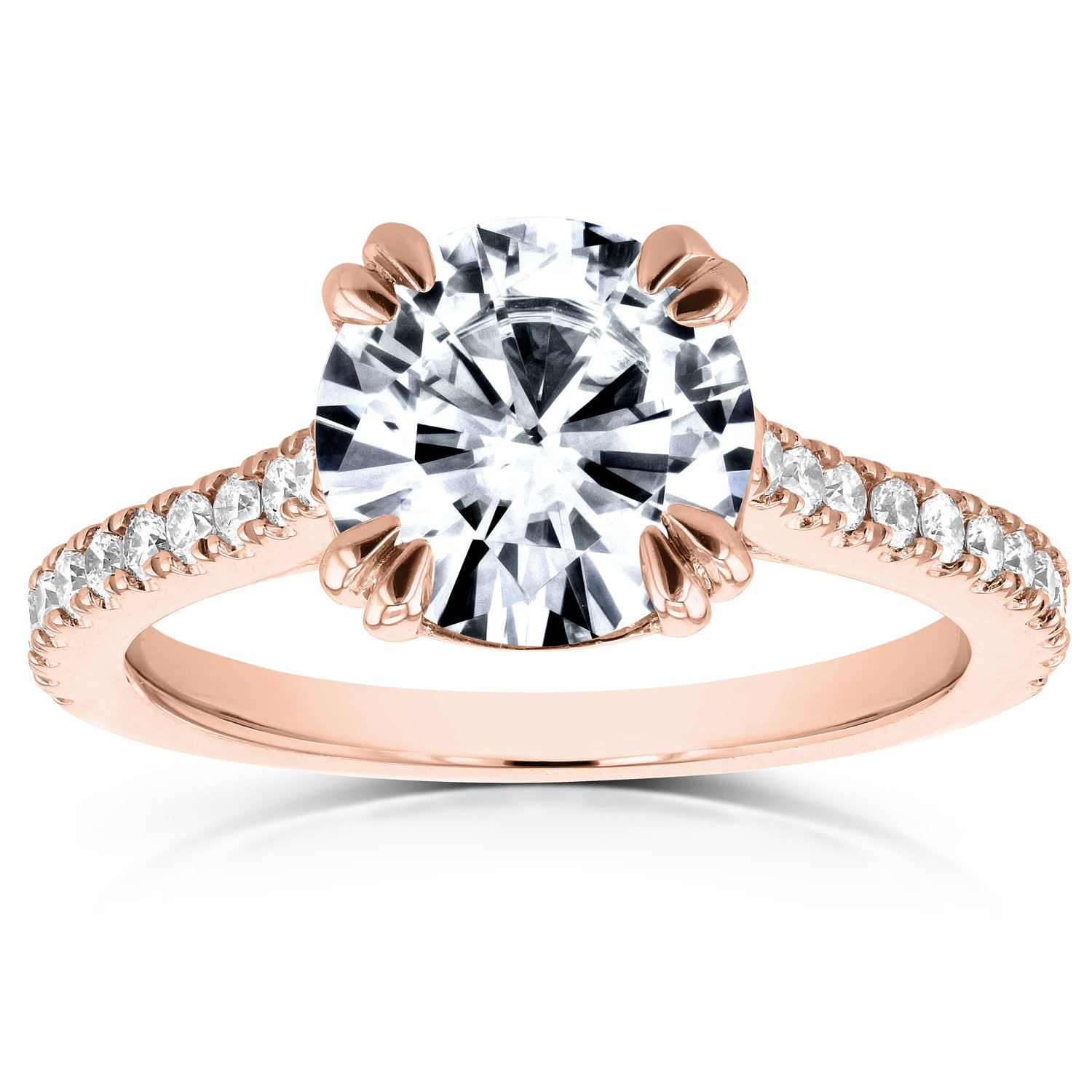 14k Rose Gold Forever One (D-F) Round Moissanite & Diamond Engagement Ring 2 1/5 CTW
