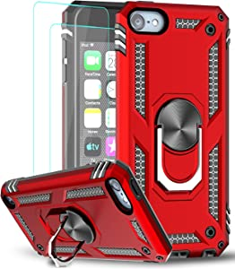 iPod Touch 7 Case, iPod Touch 6 Case, iPod Touch 5 Case with Tempered Glass Screen Protector [2 Pack],LeYi Military Grade Phone Case with Car Mount Kickstand for Apple iPod Touch 7th/6th/5th Gen Red