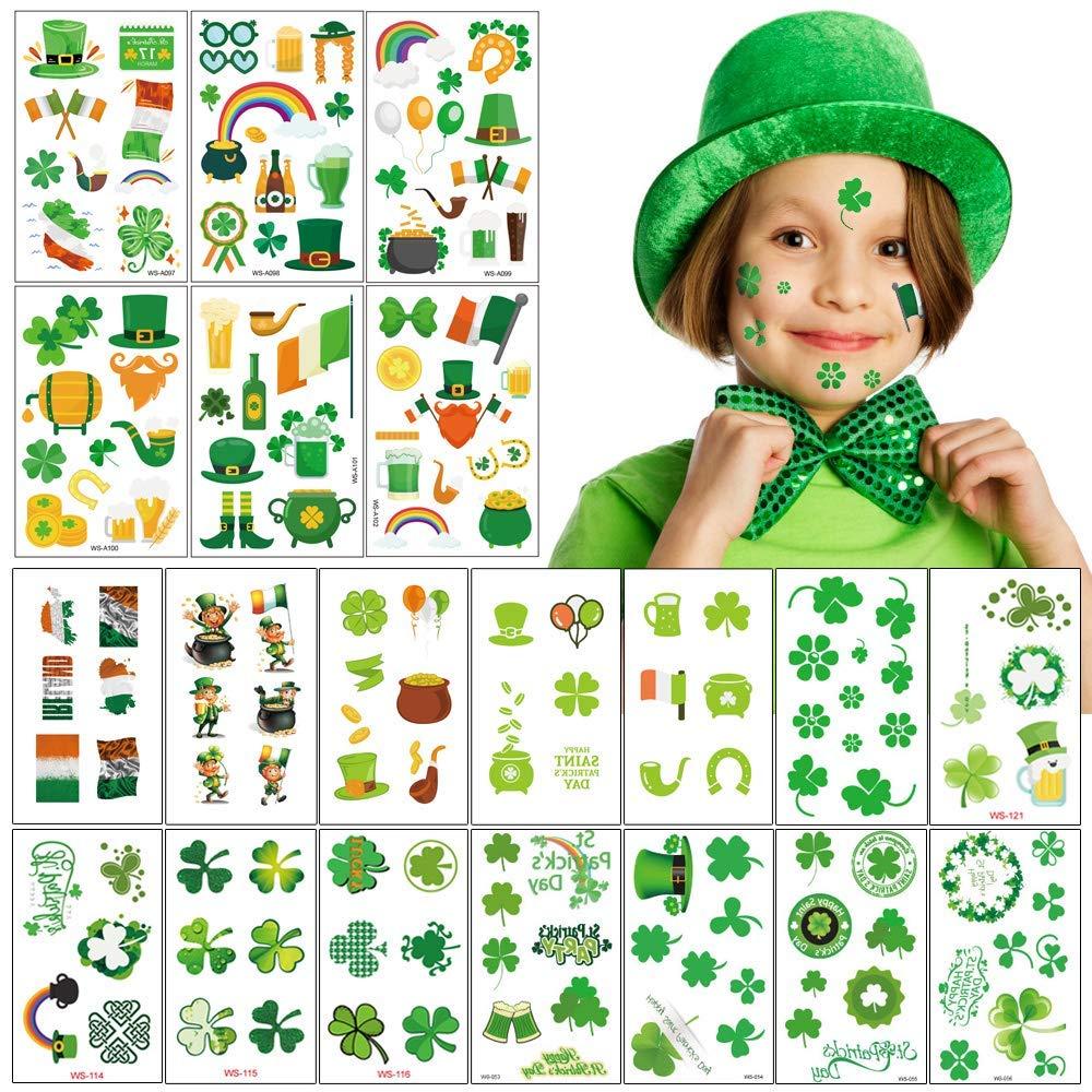 158pcs st. patrick's day tattoo stickers 20sheet Shamrock Clover Irish Temporary Tattoos St. Paddy's day Parade Party Favors Decorations