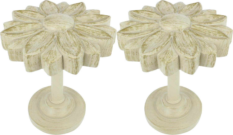 MERIVILLE Set of 2 Blossom Window Drapery Medallion Holdbacks, Curtain Tiebacks, Wall Hook, Tassel Holder, French White