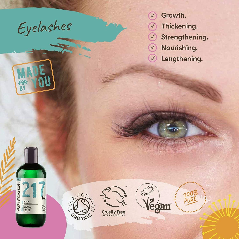 Naissance Aceite de Ricino BIO 250ml - Puro, natural, certificado ecológico, prensado en frío, vegano, sin hexano, no OGM - Hidrata y nutre el cabello, ...