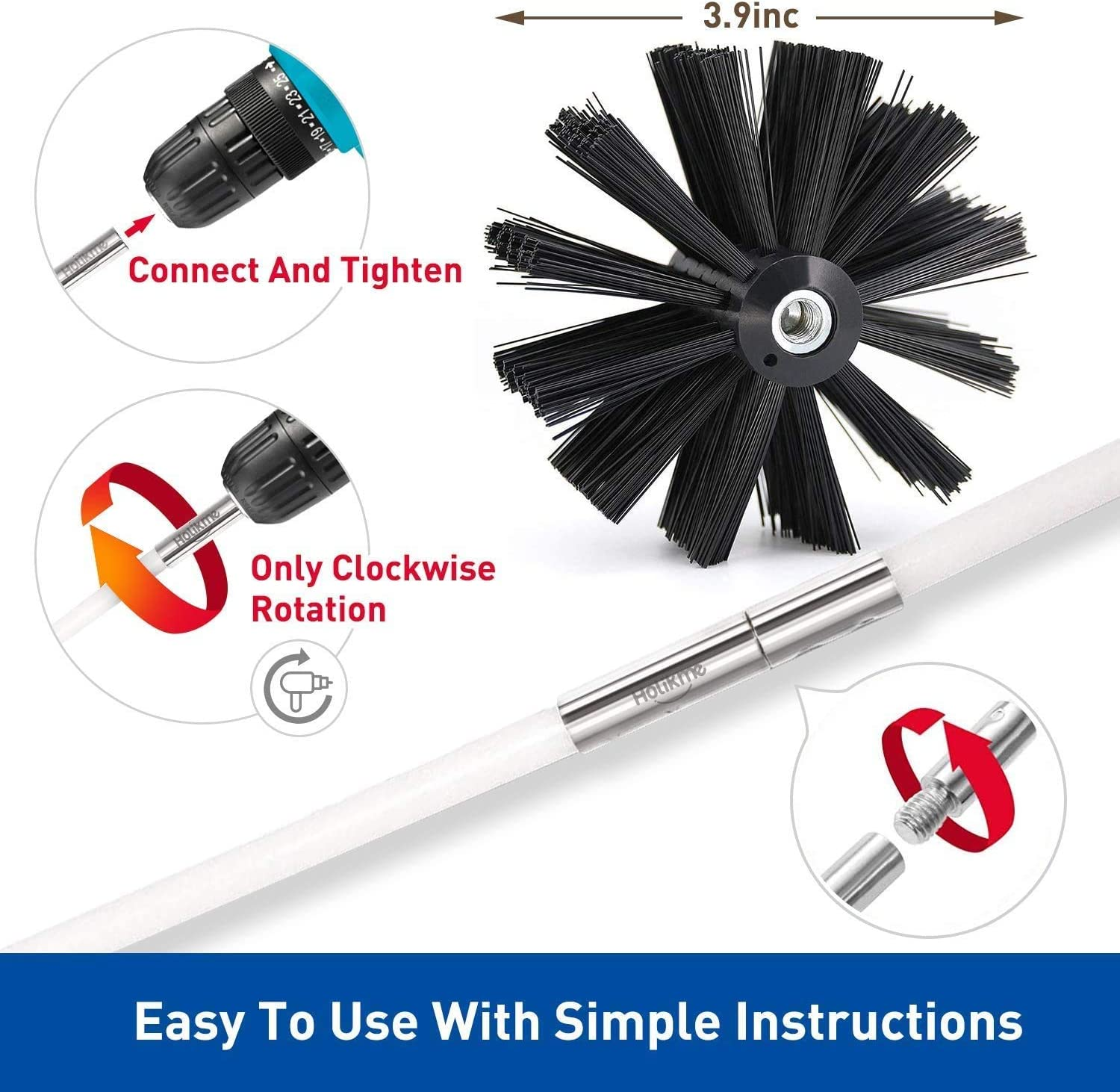 Use with or Without a Power Drill 25 Feet Dryer Vent Cleaning Brush Kit Profession Lint Remover Extends Up to 25 Feet Fireplace Chimney Brushes Synthetic Clean Brush Head