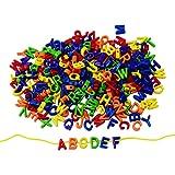 Colorations Big Letter Beads, Plastic, 300 Pieces, Language, Arts & Crafts, for Kids, Stringing, Teachers, Motor Skills, Multi Color