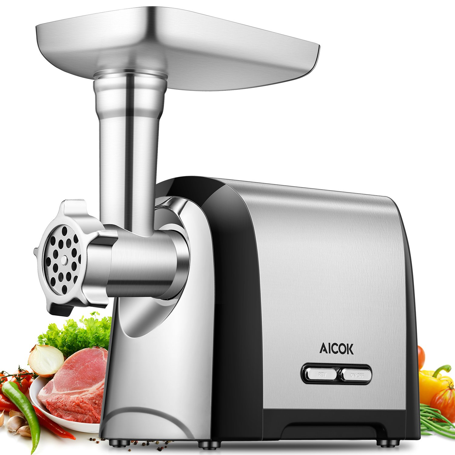 Aicok Electric Meat Grinder, Stainless Steel Meat Mincer & Sausage Stuffer, 1200W Max, 3 Grinding Plates, Sausage & Kubbe Kits Included, Concealed Accessory Box, Home Kitchen & Commercial Use