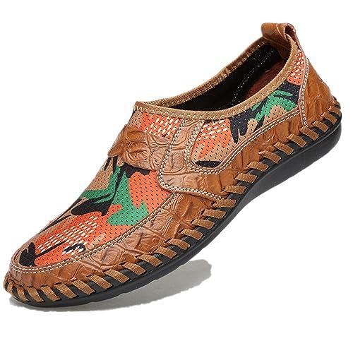 f4458da83199c Bebete5858 Verano Zapatos de Malla Transpirable para Hombre Zapatos Casuales  de Cuero Genuino Resbalón EN la Marca de Moda Zapatos de Verano Hombre  Cómodo ...