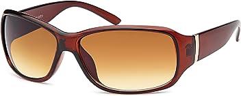 Klassische Damen-Sonnenbrille mit Metallapplikation am Scharnier, in schwarz oder braun (braun verlaufend)
