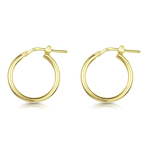 f49d23f10 Amberta Gold Plated on Fine 925 Sterling Silver - Pair of Hinged Hoops -  Creole Sleeper