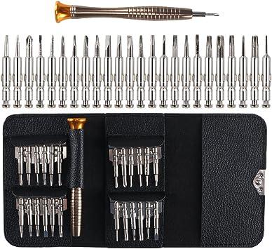 Dayree Kit destornilladores 25 en 1 con estuche de cuero negro combinación multifuncional de herramientas de mantenimiento de instrumentos de precisión adecuado para teléfono, iPad, gafas, relojes: Amazon.es: Bricolaje y herramientas