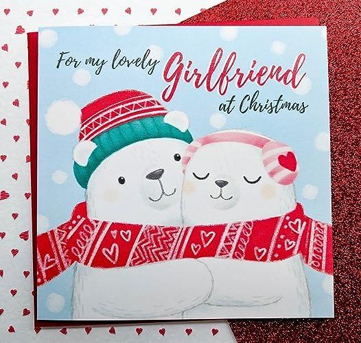 girlfriend christmas card hand drawn cute polar bears card girlfriend cards romantic christmas - Christmas Card For Girlfriend