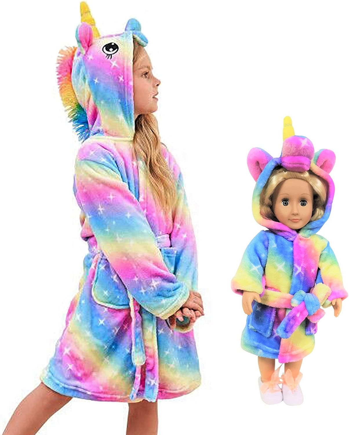 Unicorn Bathrobe Matching Doll & Girls, Unicorn Gifts for Girls: Clothing