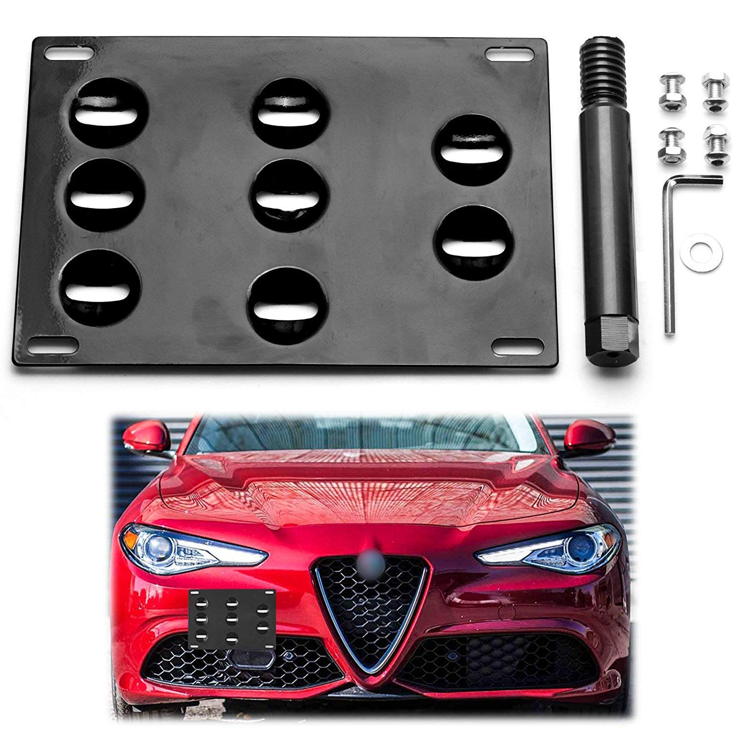 Xotic Tech for Alfa Romeo Giulia 2017+ Black Front Bumper Tow Hook License Plate - No Drill Mounting Bracket Adapter Kit by x xotic tech