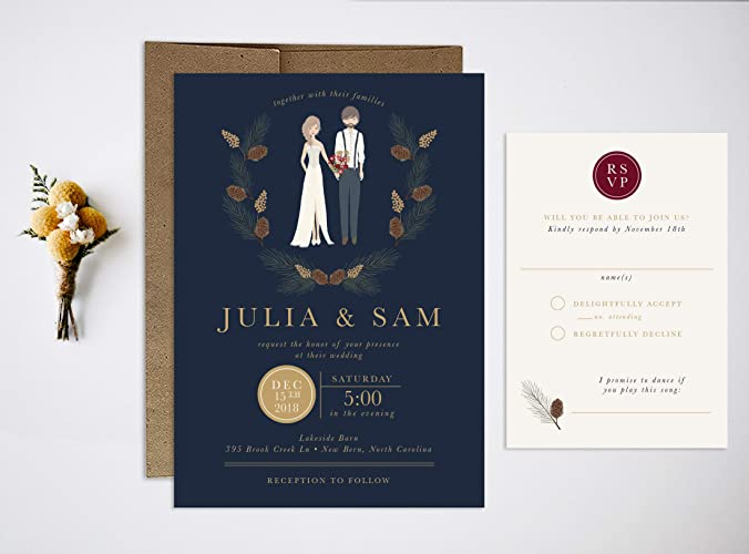 Christmas Wedding Invitations.Amazon Com Portrait Winter Christmas Wedding Invitation Set