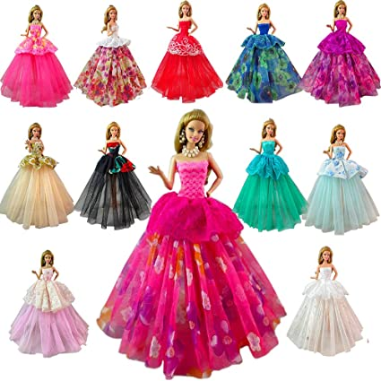 e46b79a78d992 BARWA Lot 7 Pcs Doll Dresses Handmade Fashion Wedding Party Ball Gown Lace  Dresses Outfits Compatible for 11.5 inch Doll