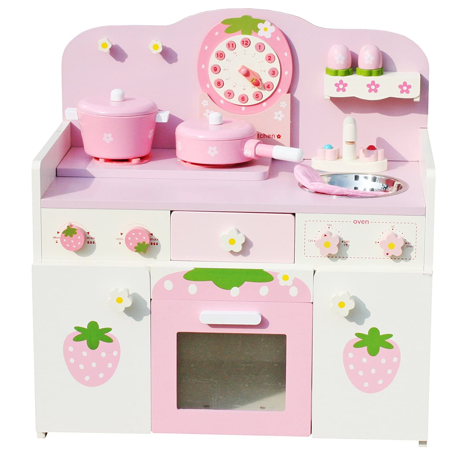 3a5e08bd48722 Amazon.com  Timy Wooden Play Kitchen Strawberry Playfully Delicious Pretend  Playset with Accessories